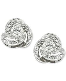 Diamond Love Knot Stud Earrings (1/4 ct. t.w.) in 10k White Gold