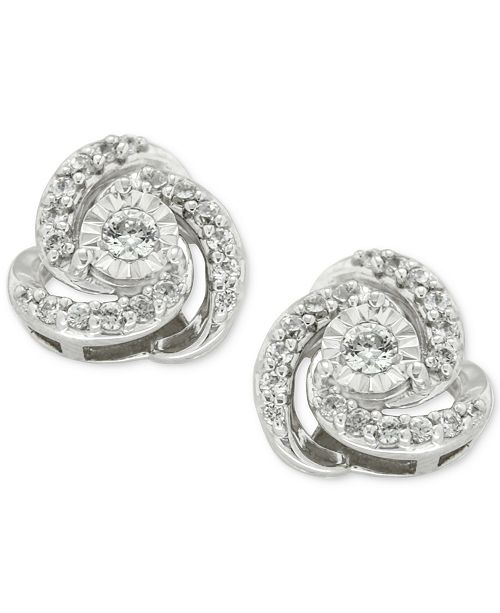 Product Details Let Your Style Sparkle With These Clic Round Shape Diamond Love Knot Stud Earrings