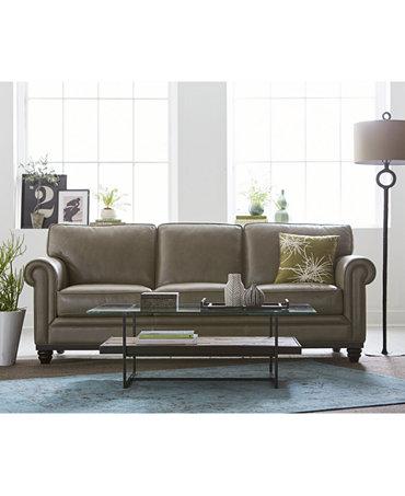 Martha Stewart Bradyn Leather Sofa Living Room Furniture