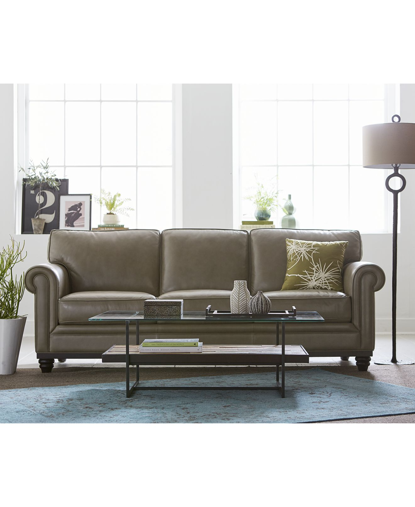 Martha stewart bradyn leather sofa living room furniture collection