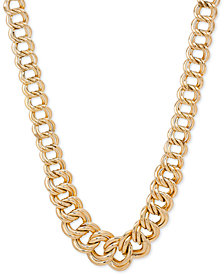 Double Ring Graduated Link Statement Necklace in 14k Gold