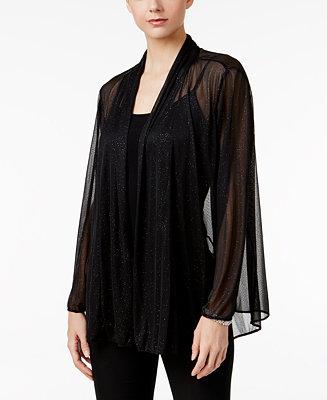 MSK Plus Size Metallic Chiffon Jacket - Jackets - Women ...