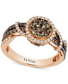 Le Vian Chocolatier® Diamond Halo Ring (9/10 ct. t.w.) in 14k Rose Gold