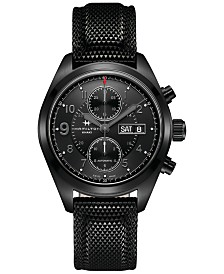 Hamilton Men's Swiss Automatic Khaki Field Black Rubber Strap Watch 42mm H71626735