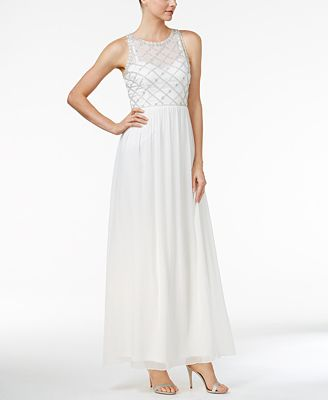 Adrianna Papell Beaded A Line Gown Dresses Women Macy S