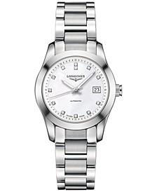Women's Swiss Automatic Conquest Classic Diamond Accent Stainless Steel Bracelet Watch 29mm L22854876