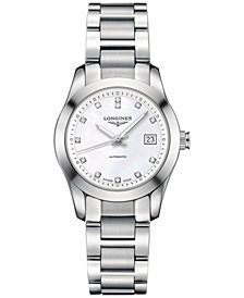 Longines Women's Swiss Automatic Conquest Classic Diamond Accent Stainless Steel Bracelet Watch 29mm L22854876