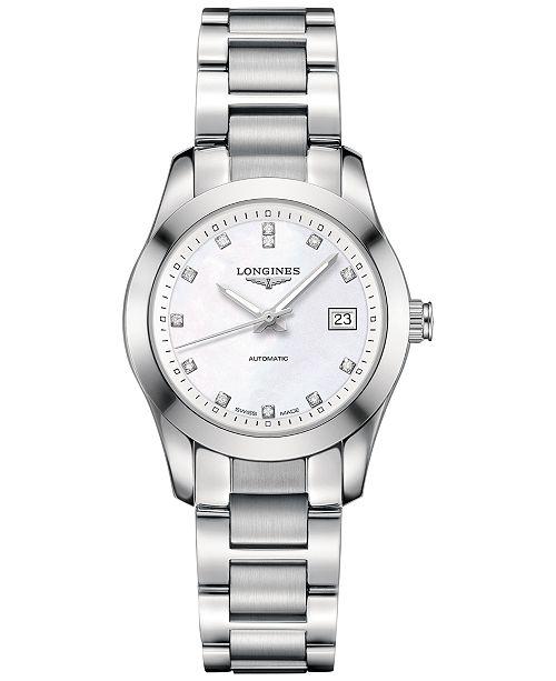 ... Longines Women s Swiss Automatic Conquest Classic Diamond Accent Stainless  Steel Bracelet Watch 29mm L22854876 ... b3ecb1ef9b2