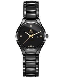 Unisex Swiss Automatic True Diamond Accent Black Ceramic Bracelet Watch 30mm R27242712