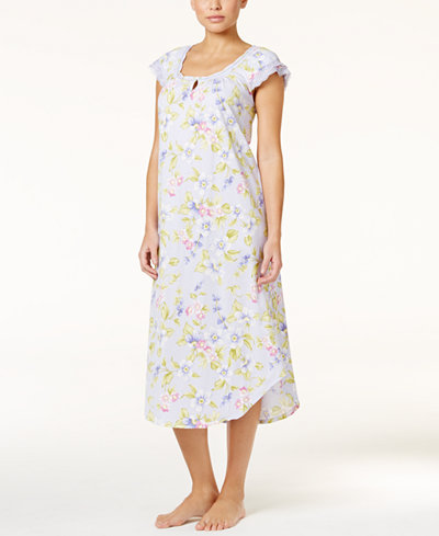 9bc9ab65203 Charter Club Flutter-Sleeve Printed Crinkle Knit Nightgown