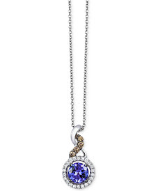 Le Vian Chocolatier® Tanzanite (1/2 ct. t.w.) and Diamond (1/8 ct. t.w.) Pendant Necklace in 14k White Gold