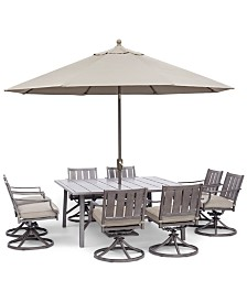 "Wayland Outdoor Aluminum 9-Pc. Dining Set (64"" Square Dining Table & 8 Swivel Chairs) with Sunbrella® Cushions, Created for Macy's"