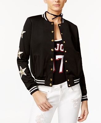 Material Girl Graphic Bodysuit & Star Patch Bomber Jacket, Only at Macy's
