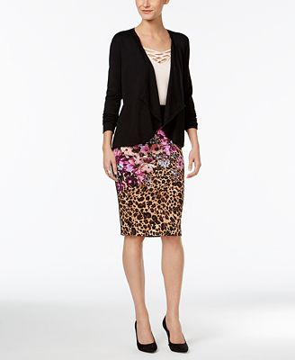 Thalia Sodi Illusion Cardigan, Crisscross Camisole & Pencil Skirt, Only at Macy's