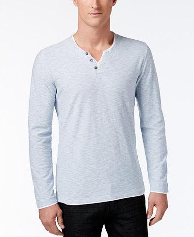 I.N.C. Men's Long-Sleeve Split-Neck T-Shirt, Created for Macy's ...