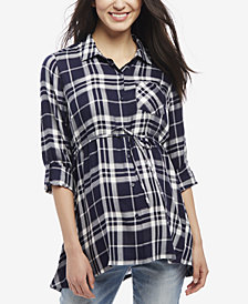 Motherhood Maternity Plaid Blouse