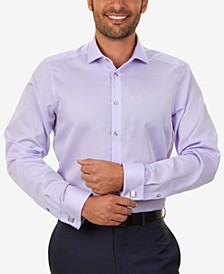Men's Slim-Fit Non-Iron Performance Herringbone French Cuff Dress Shirt