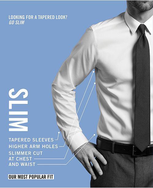11fd6d88032b ... Calvin Klein Men's Slim-Fit Non-Iron Performance Herringbone Point  Collar Dress Shirt ...