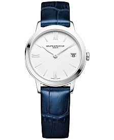 Baume & Mercier Women's Swiss Classima Blue Leather Strap Watch 31mm M0A10353