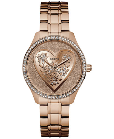GUESS Women's Rose Gold-Tone Stainless Steel Bracelet Watch 37mm U0910L3