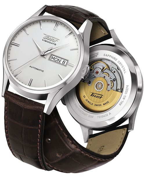 ... Tissot Men s Swiss Automatic Heritage Visodate Brown Leather Strap  Watch 39mm T0194301603101 ... f92d248eac