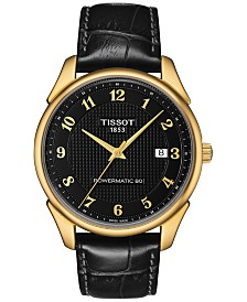 Tissot Men's Swiss Automatic Vintage Powermatic 80 Black Leather Strap Watch 40mm T9204071605200
