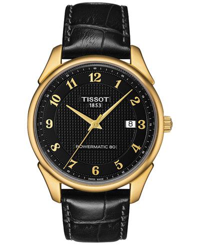 Tissot Men's Swiss Automatic Vintage Powermatic 80 Black Leather Strap Watch 40mm T9204071605200