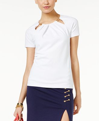 MICHAEL Michael Kors Embellished Cutout Top, A Macy's Exclusive