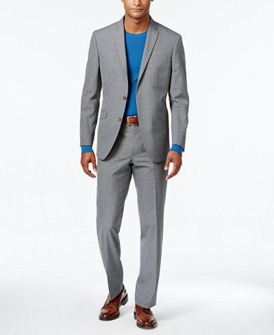 Kenneth Cole Reaction Men's Slim-Fit Gray Check Suit - Suits ...