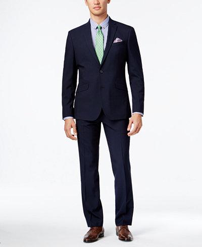 Kenneth Cole Reaction Men's Slim-Fit Navy Mini-Stripe Suit - Suits ...