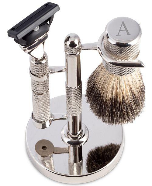 Bey-Berk Men's Monogrammed Razor & Brush Set