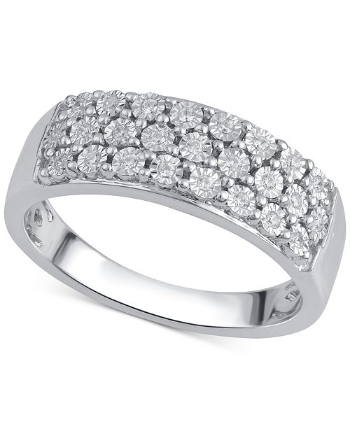 Diamond Three-Row Band (1/8 ct. t.w.) in Sterling Silver