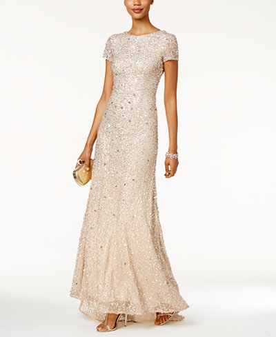 Adrianna Papell Petite Sequined Train Gown