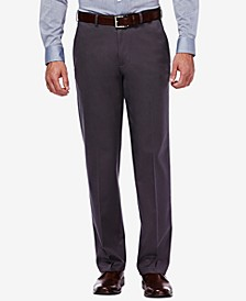 Men's Premium No Iron Khaki Classic Fit Flat Front Hidden Expandable Waist Pant