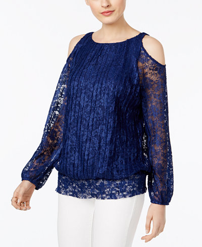 INC International Concepts Cold-Shoulder Lace Peasant Top, Only at
