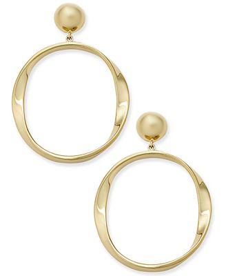 Kate Spade New York Gold Tone Polished Drop Hoop Earrings