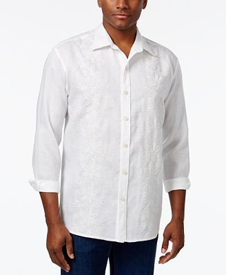 Tommy Bahama Men's Linen White Night Embroidered Shirt - Casual ...