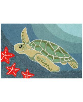 Liora Manne Front Porch Indoor/Outdoor Sea Turtle Ocean 2' x 3' Area Rug