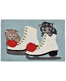 Liora Manne Front Porch Indoor/Outdoor Skates And Kittens Ice 2' x 3' Area Rug