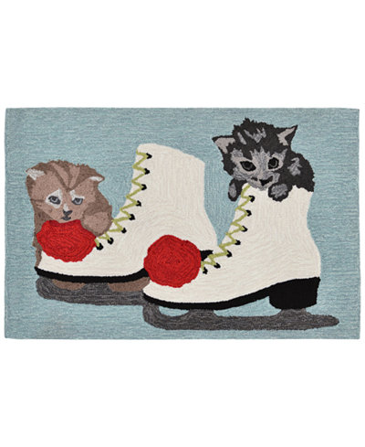 Liora Manne Front Porch Indoor/Outdoor Skates And Kittens Ice 2'3