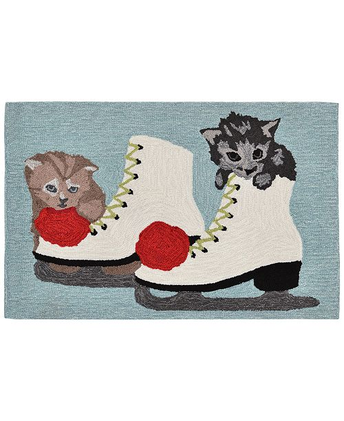 Liora Manne' Liora Manne Front Porch Indoor/Outdoor Skates And Kittens Ice 2' x 3' Area Rug
