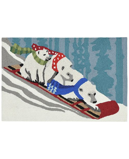 "Liora Manne' Liora Manne Front Porch Indoor/Outdoor Toboggan Bears Snow 2'6"" x 4' Area Rug"