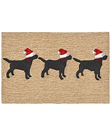 "Liora Manne Front Porch Indoor/Outdoor 3 Dogs Christmas Neutral 2'6"" x 4' Area Rug"