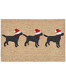 "Liora Manne Front Porch Indoor/Outdoor 3 Dogs Christmas Neutral 2'3"" x 6' Runner Rug"