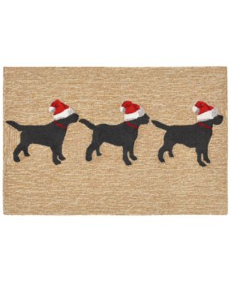 Liora Manne Front Porch Indoor/Outdoor 3 Dogs Christmas Neutral Area Rug