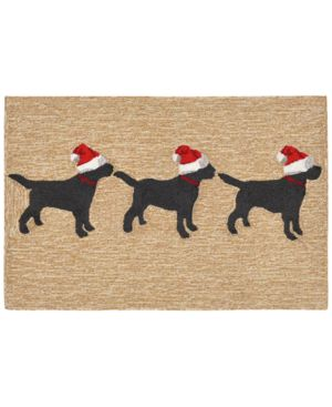 Liora Manne Front Porch Indoor/outdoor 3 Dogs Christmas Neutral 2'3 X 6' Runner Rug