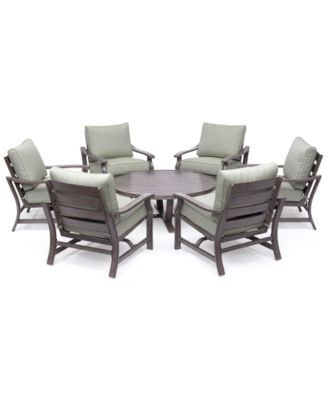 "Tara Aluminum Outdoor 7-Pc. Seating Set (48"" Round Table & 6 Rocker Chairs), Created for Macy's"