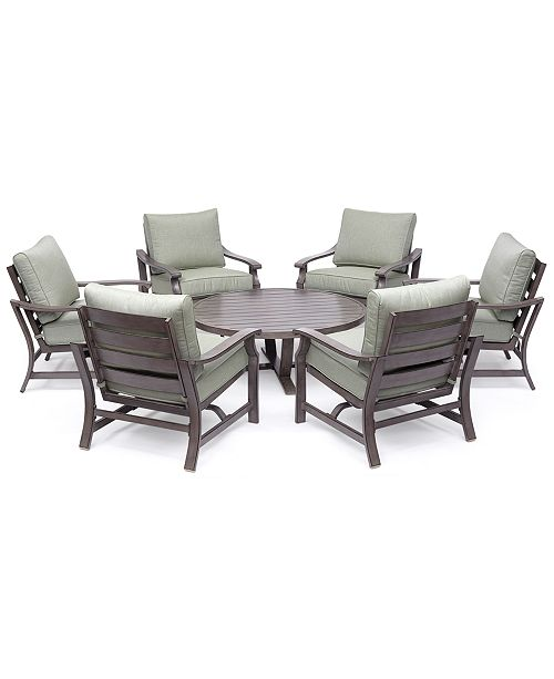 Furniture Tara Aluminum Outdoor 7 Pc Seating Set 48