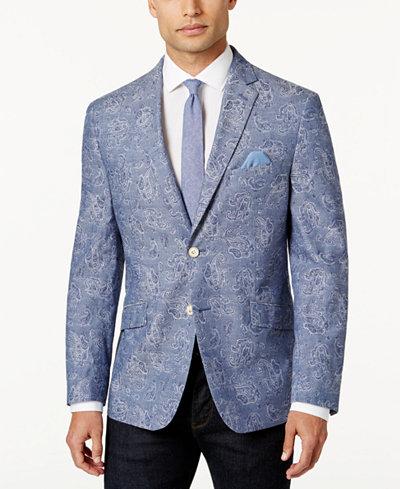 Tallia Men's Slim-Fit Light Blue Paisley Sport Coat - Blazers ...