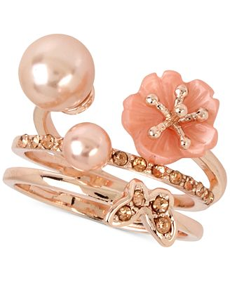 M. Haskell for INC International Concepts Rose Gold-Tone 2-Pc. Set Flower, Imitation Pearl and Butterfly Rings, Only at Macy's